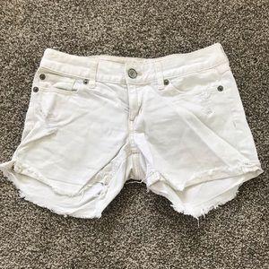 White distressed denim shorts Express Jeans shorts